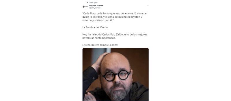 Tuit Planeta Carlos Ruiz Zafón