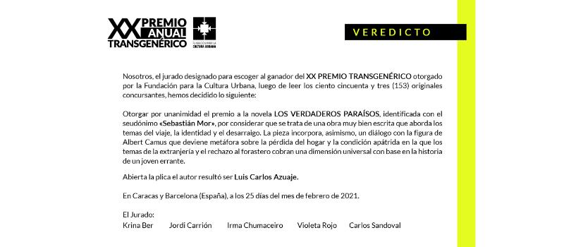 Veredicto XX Premio Anual Transgenérico de la Fundación para la Cultura Urbana